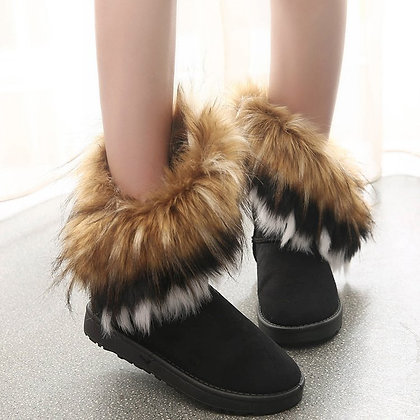 Fur Ankle Boots / Snow Shoes Style Round-Toe Slip on / Flock Snow Boot