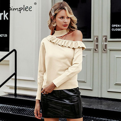 Simplee - Sexy Halter Knitted Sweater - Jumper