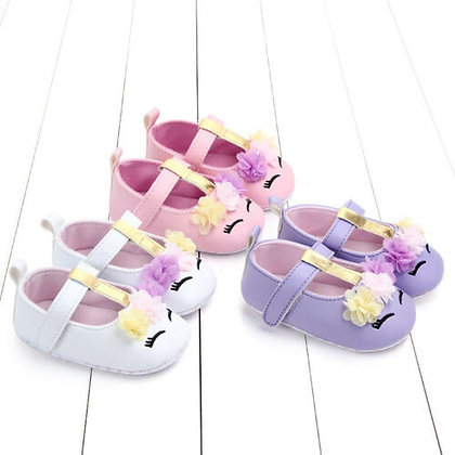 Non-Slip Soft Sole - Flower - PU Leather Shoes /0-18m