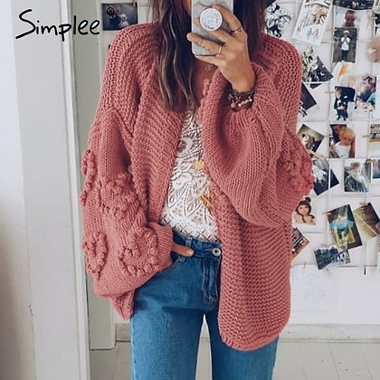 Loose Knitted Cardigan / Crochet Jumper