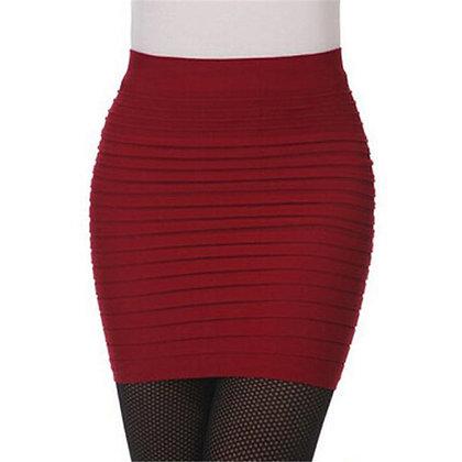 CUHAKCI - High Waist A-Line Elastic Black Red Pleated Skirts / @ Googoostore