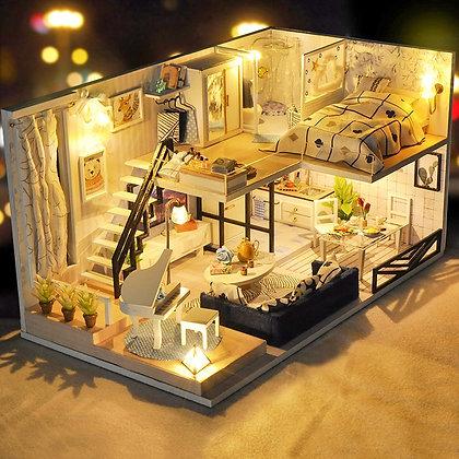 CUTEBEE DIY Doll House Wooden Doll Houses Miniature Dollhouse Furniture Kit