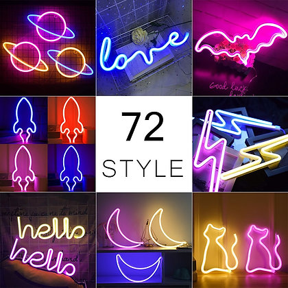 72 Styles Led Neon Light Colorful Rainbow LED Neon Sign for Party Decoration
