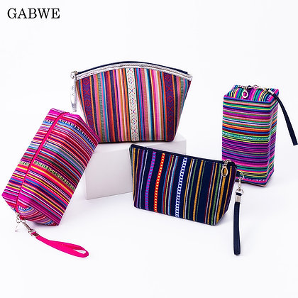 GABWE New Vintage Women Cosmetic Case Cotton Striped Retro Makeup Bag