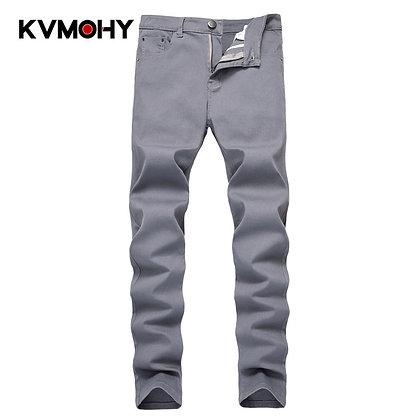 Men Fashion Skinny Jeans New Casual Gray Biker Jean Classic Style Elastic