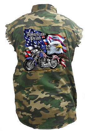 Men's Camo Sleeveless Denim Shirt USA Flag American Pride Bald Eagle Camouflage