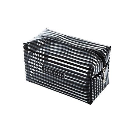 Portable Waterproof Transparent Makeup Bag Fashion Striped Zipper