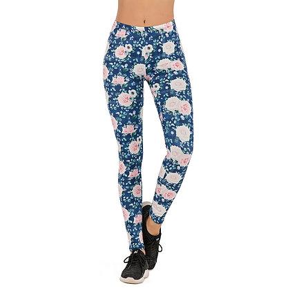 Brands Women Fashion Legging Roses Blue Gird Printing Leggins Slim Leggings