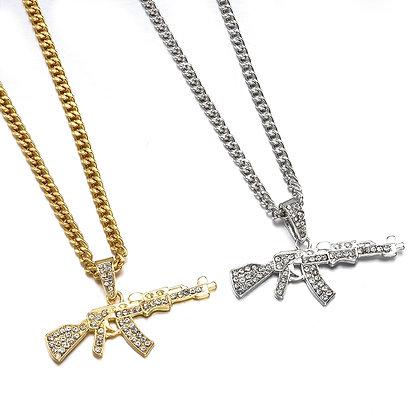 Gun Pendant / Crystal Rhinestone Chain Necklace