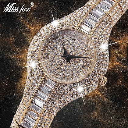 Shockproof Waterproof Luxury Ladies Metal Watch Bracelets Rhinestone