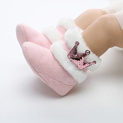 Newborn Infant Baby Girls Winter Warm Crown Fur Mid-Calf Length Slip-On / 0-18m