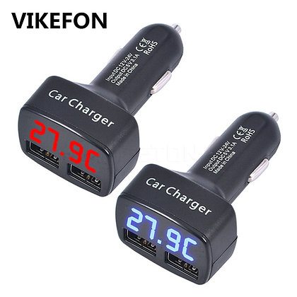 VIKEFON - Dual USB Charger 5V 3.1A Universal 4 in 1 / With Temp. LED Display