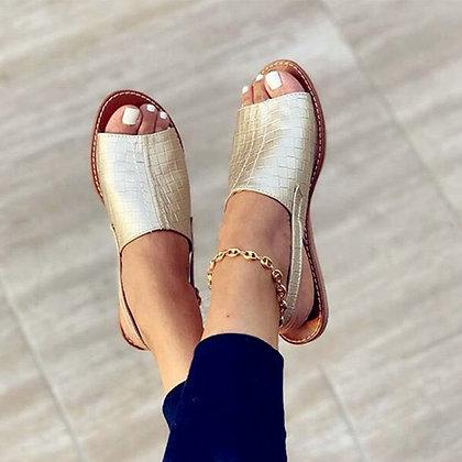 Women'Flat Peep-Toe Comfort Slip-On Sandals - Mujer Slingback