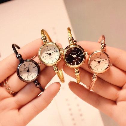 Gold Luxury Stainless Steel Retro Ladies Bangle Bracelet Watch