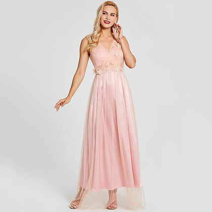 Dressv - Pink Long sleeveless Party Formal Dress