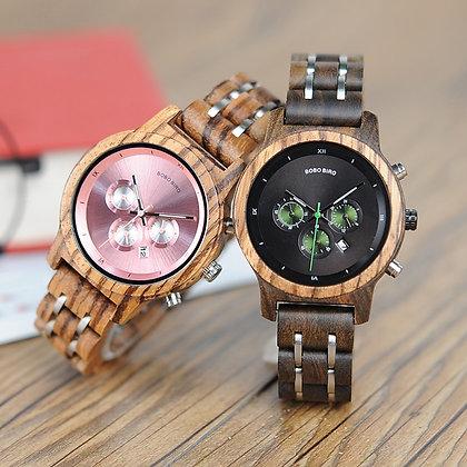 BOBO BIRD - Luxury Chronograph Date Quartz Watch / Wooden Strap