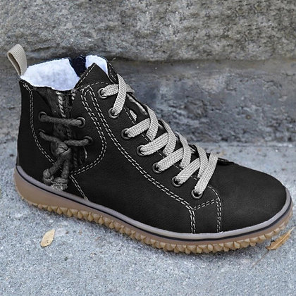 Waterproof Lace-Up Leather Ankle Boots / Zipper Fleece Boots