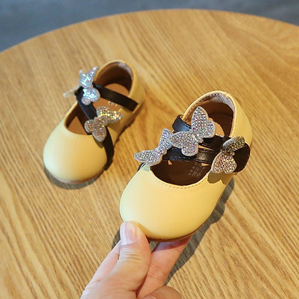 Princess Shoes Butterfly Sequins Baby Soft Bottom Shoes Girls Baby Leather Shoes