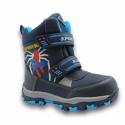 Apakowa Winter Kids Snow Boots Mid-Calf Bungee Lacing Waterproof Boys Boots