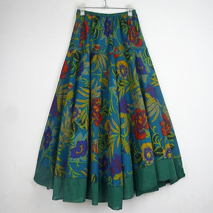 Multicolor Bohemia Style Ethnic Print Linen Skirt / Plus Size