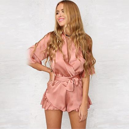 Elegant Jumpsuit Romper Short Sleeve Sexy Sleepwear