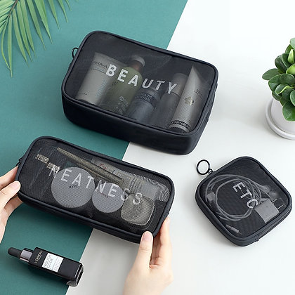 Women Travel Cosmetic Bag Casual Zipper Make Up Transparent Makeup Case