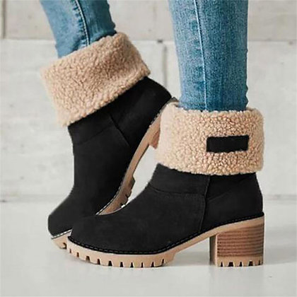 Winter Warm Wool Fur Comfy Ankle Boots / Plus Size 35-43