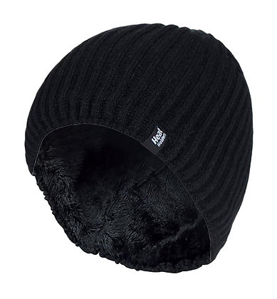 Mens Fine Ribbed Thermal Beanie Hat