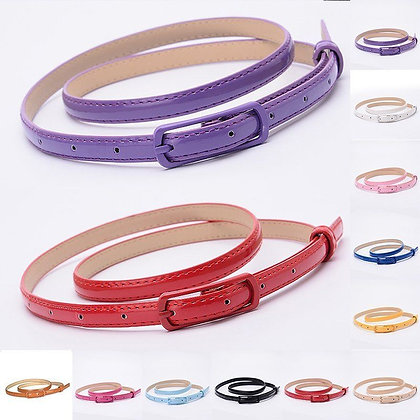 Naiveroo - PU Leather Candy Color Belts at Googoostore