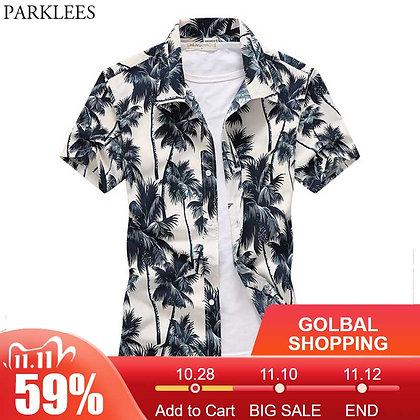 Palm Tree Printed Hawaiian Beach Shirt for Men 2019 Summer Short Sleeve