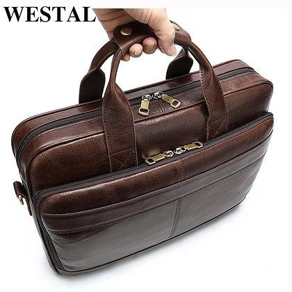 WESTAL 100% Men's Leather Briefcases Portfolios Laptop Bag /15 Inch
