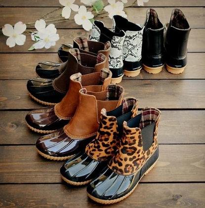 Leopard Print Flat Heel - Round Head - Waterproof Ankle Boots