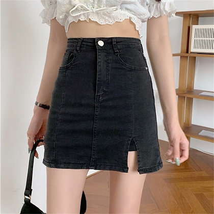 GUUZYUVIZ - High Waist Split Mini Skirt