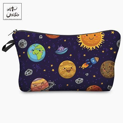 Planet Funny Character Printing Cosmetic Organizer Bag