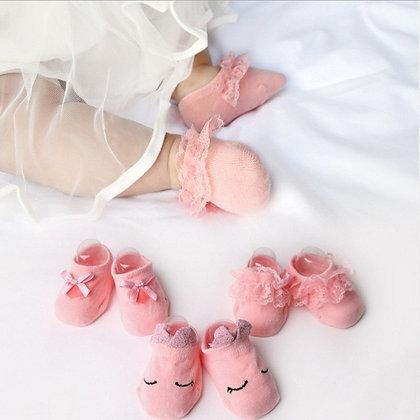 3 Pairs/Lot Lace Flower Newborn Baby Socks Cotton Anti-Slip 0-12 Months