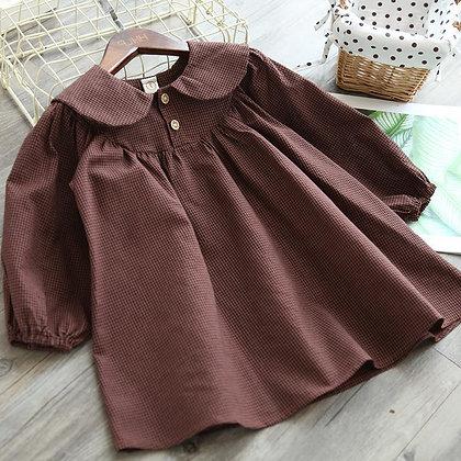 Mihkalev 2021 Kids Clothes Girl Autumn Plaid Dress for Children Princess