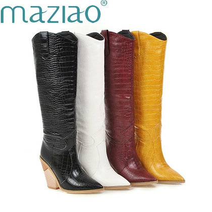 Western Cowboy Knee High Boots / Pointed Toe