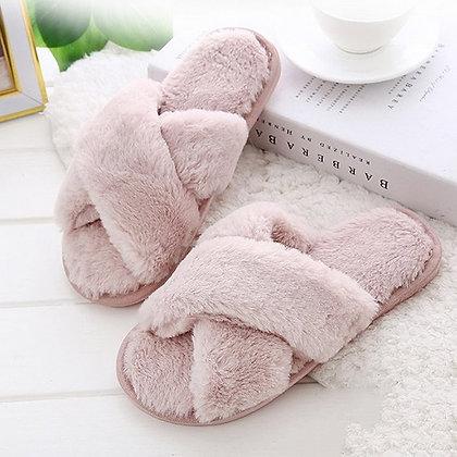 Cross Plush Open Toe Warm Faux Fur Slippers