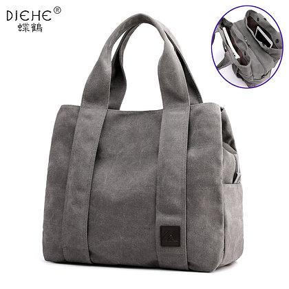 Woman Canvas Handbags Casual Lady Big Capacity Vintage Multi-Pocket Totes Bolsas