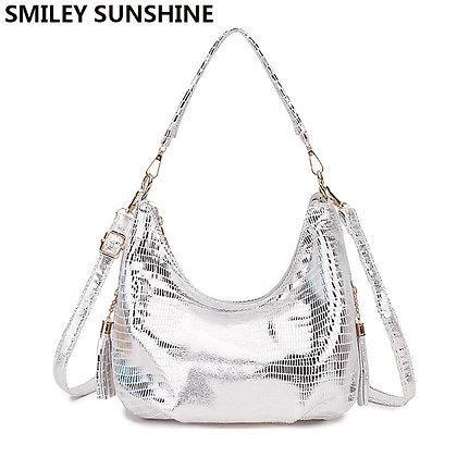 Snake Print Hobo Messenger Bag / Silver Small Crossbody Bag