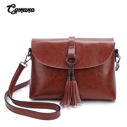 Quality Genuine Leather Female Shoulder Bag Vintage Tassel Women Crossbody Bag