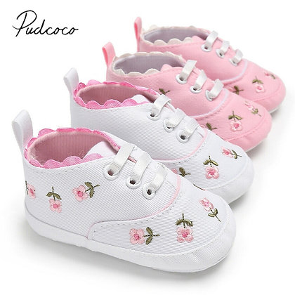 Embroidery Flower Soft Sole Toddler / First Walkers Causal Shoes / 0-18m