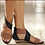 Thumbnail: Leather - Canvas Weave Wedge Heel Sandals