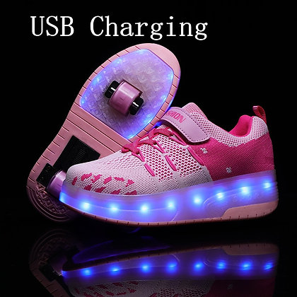 USB Charging Children Roller Skate Automatic Flashing Glowing Sneakers