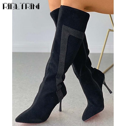 RIBETRINI Pointed Toe High Heels Boots