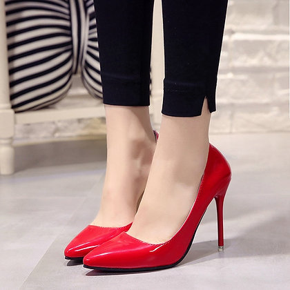 Plus Size 34-44 - Pointed Toe Pumps Patent Leather High Heels / Blue / Wine Red