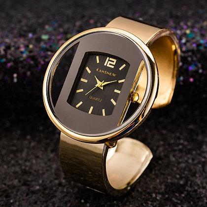Luxury Gold Steel Creative Quartz Wristwatch