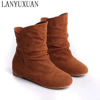 Plus Size 33-48 Faux Suede-Leather Flat Heel Comfort Ankle Boots