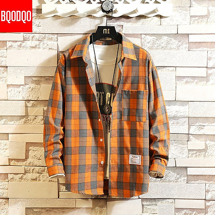 Brand Cotton Red Plaid Casual Shirt Men Military Style / Autumn Long Sleeve
