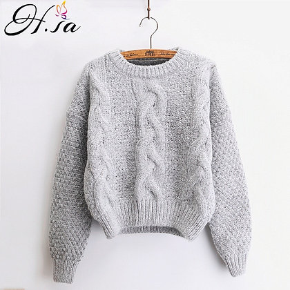 H.SA - Warm Pullover and Jumpers / Crewneck Mohair Pullover at Googoostore